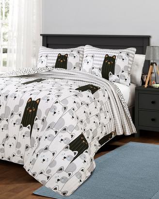 Triangle Home Fashion Fashions 3Pc Stripe Bear Full/Queen Quilt Set