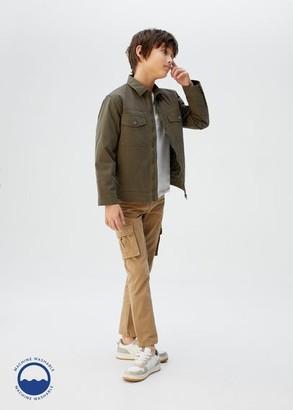MANGO Zipped quilted jacket khaki - 5 - Kids