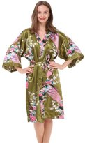 Mr&Mrs Right Women's Robes Peacock and Blossoms Kimono Satin Nightwear Long Style