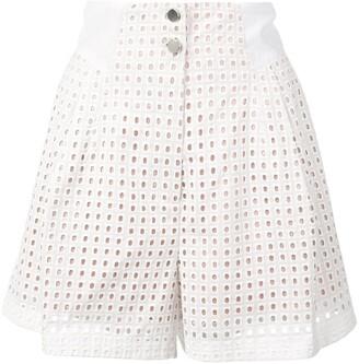 Fleur Du Mal High-Waisted Eyelet Shorts