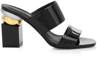Salvatore Ferragamo Lotten Block-Heel Patent Leather Mules