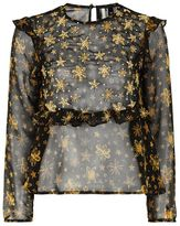 Topshop Star embroidered frill blouse