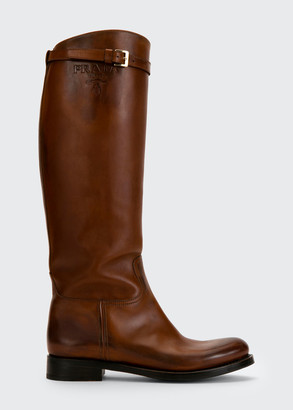 Prada 30mm Tall Leather Riding Boots