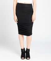 Black Ruched Maternity Midi Skirt