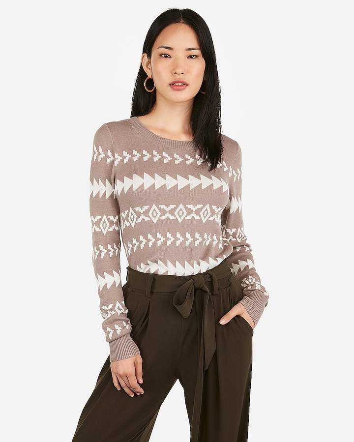 Express Fitted Geometric Print Sweater