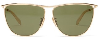 Celine Andy Top-frame Metal Sunglasses - Womens - Green Gold
