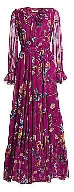 Borgo de Nor Women's Anna Floral Long-Sleeve Silk Maxi Dress