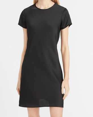 Express Satin Crew Neck T-Shirt Dress