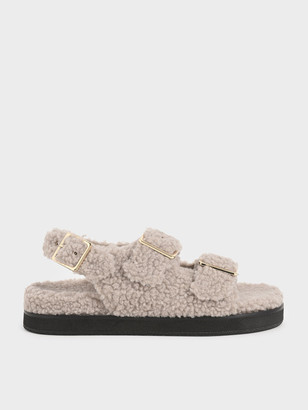 Charles & Keith Furry Flat Sandals