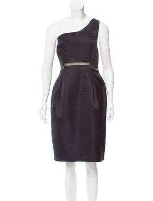 Lanvin Silk One-Shoulder Dress w/ Tags Black