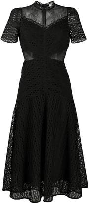 Sandro Paris sheer panel lace midi dress