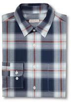 Merona Men's Plaid Long Sleeve Button Down Shirt Navy