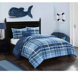 Better Homes & Gardens Navy Blues Plaid Comforter Set