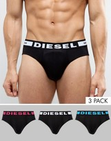 Diesel Briefs In 3 Pack With Logo Waistband In Black