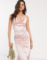 TFNC Bridesmaid satin maxi dress with cowl front in blush pink