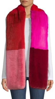 Jocelyn Savage Love Faux Fur Colorblocked Wide Scarf