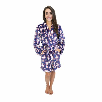 Cherokee Women's Polyester Plush Shawl Collar Bathrobe Sleepwear