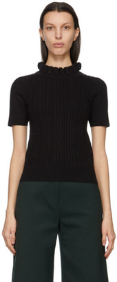 See by Chloe Black Cable Knit Ruffled Turtleneck