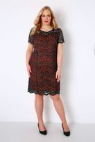 Yours Clothing Black & Red Lace Midi Dress With Sweetheart Style Neckline
