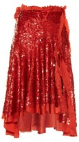 Lanvin Sequin-embellished silk-satin skirt
