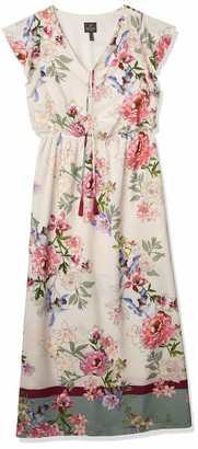 Adrianna Papell Women's Floral Border Print Maxi Dress