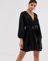 Asos Design DESIGN long sleeve plunge mini dress with kimono sleeve and belt
