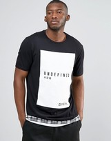 Asos Super Longline T-Shirt With Japanese Text Print And Check Hem Extender