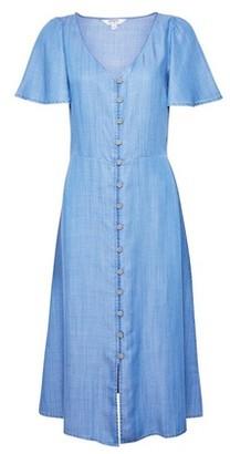Dorothy Perkins Womens Blue Angel Sleeve Midi Shirt Dress, Blue