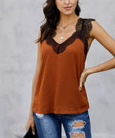 Te.Crew By Zesica TE.CREW by Zesica Women's Tank Tops Orange - Burnt Orange Lace-Trim One More Night Tank - Women