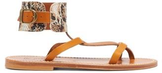 K. Jacques Caravelle Python-print Leather Sandals - Womens - Tan Multi