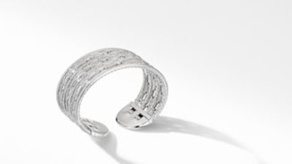 David Yurman Stax Cuff Bracelet In 18K White Gold With Pave Diamonds