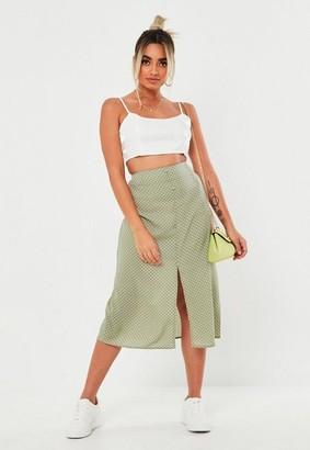Missguided Petite Green Polka Dot Button Through Midi Skirt
