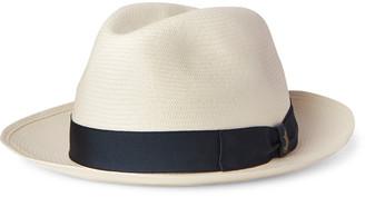 Borsalino Fellini Grosgrain-Trimmed Straw Panama Hat