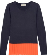 MICHAEL Michael Kors Pleated Crepe And Jersey Top - Navy