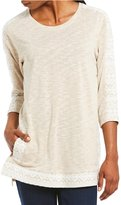 Multiples 3/4 Sleeve Hi-Lo Space Dye & Jacquard Knit Top