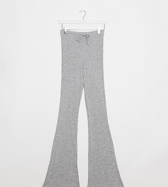 Topshop Tall ribbed flare pants in grey