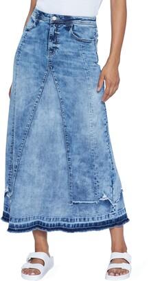 WASH LAB Selma Overlay Acid Wash Denim Skirt