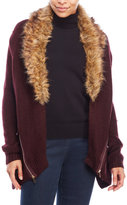 Love Tree Faux Fur Trim Cardigan