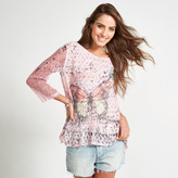 Apricot Pink Butterfly Print Long Sleeved Top