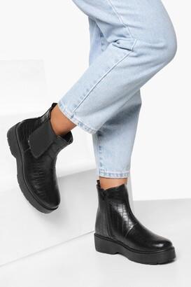 boohoo Croc Platform Chunky Chelsea Boots