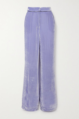 SLEEPING WITH JACQUES The Bon Vivant Piped Velvet Wide-leg Pants - Lilac