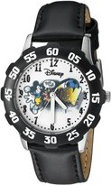 Disney Kids' W000267 Tweens Mickey Mouse Stainless Steel Black Bezel Black Leather Strap Watch