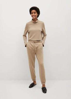 MANGO Stand collar knit T-shirt medium brown - S - Women