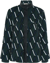 Tod's Leather-trimmed padded crepe jacket
