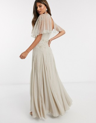 ASOS DESIGN Bridesmaid drape back maxi dress with delicate floral embellishment in taupe