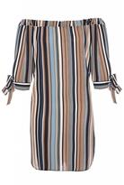 Quiz Cream Blue And Black Stripe Bardot Tunic Dress