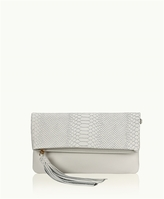 GiGi New York Stella Fold-Over Clutch Embossed Python