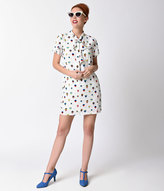 Moon Collection Retro Style White Hot Air Balloon Sleeved Shift Dress