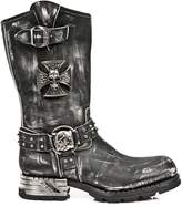 New Rock NEWROCK Mens Leather Skull Metallic Biker Boots - M.MR030-S2