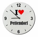 """Druckerlebnis24 Exclusive Gift Ideas: Glass Watch """"I Love Pettendorf"""" a Great gift that comes from the Heart- Watch- Ø20 cm- Christmas Gift"""